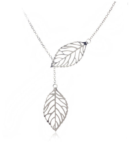 Women/Girls Double Leaf Choker Necklace