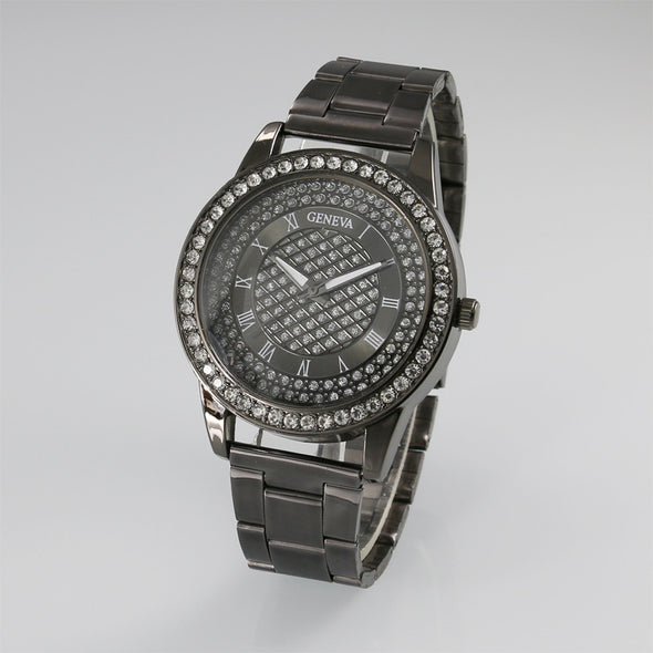 Classic Faux Diamond Encrusted Geneva Watch - NerdAbstract