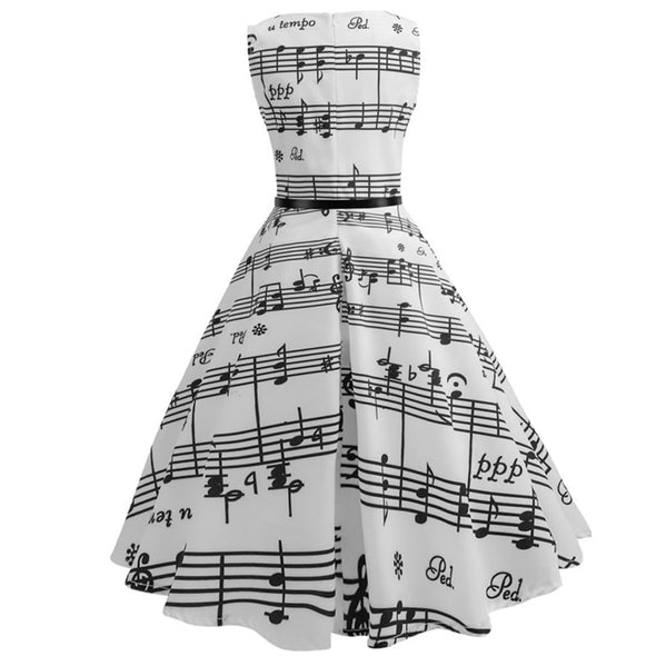 Women Vintage Sleeveless Swing Dress - NerdAbstract
