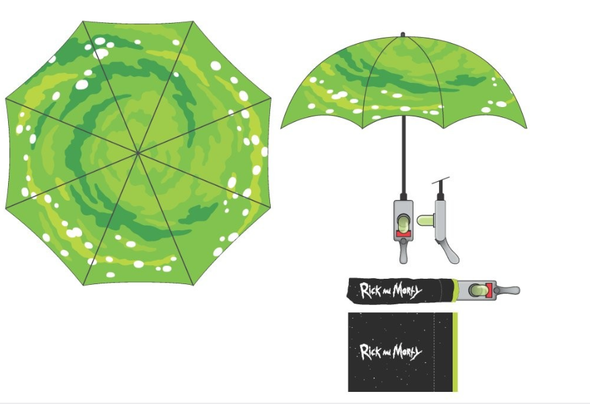Rick and Morty Portal Gun Compact Umbrella (Pre-Order Ships November) - NerdAbstract