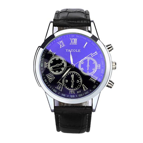Luxury Leather Men's Blue Ray Glass Watch - NerdAbstract