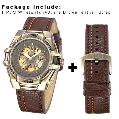Steampunk Men Mechanical Transparent Skeleton Watch - NerdAbstract