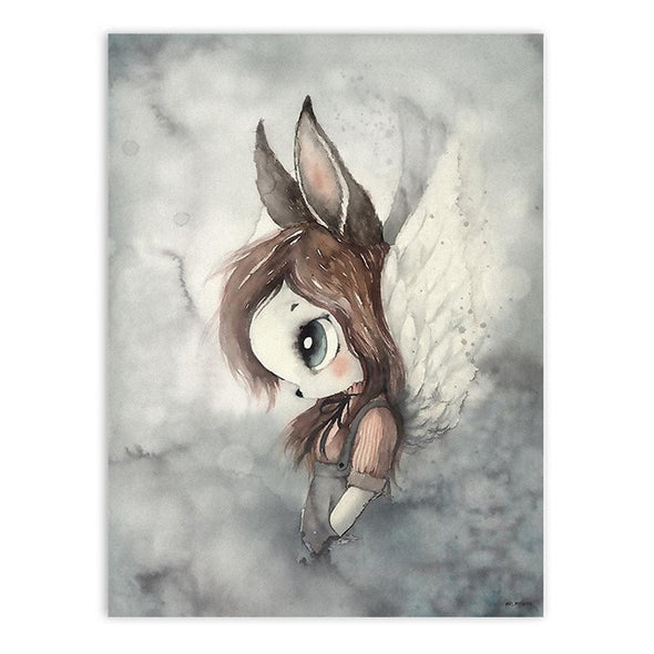 Nordic Canvas Painting Girl Bedroom Wall Pictures (Deer, Rabbit, Angle Wing, Animal, Abstract Sweet) - NerdAbstract