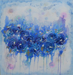 Indigo Beauty - Spinning Flowers - Collection by Janet Watson Art Designs