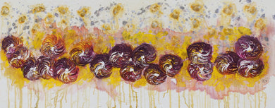 Maroon Gold Flowers - Spinning Flowers - Collection by Janet Watson Art Designs