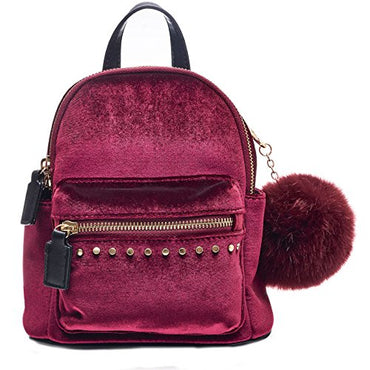 c1b266af442f ... Dream Control Ultra Soft Velvet w Pom Pom Mini Backpack Shoulder.  Mustard, Pink, Wine