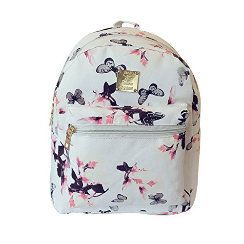 382571e9fedd ABage Girl s Mini Backpack Casual Faux Leather Studded Floral Travel  Backpack
