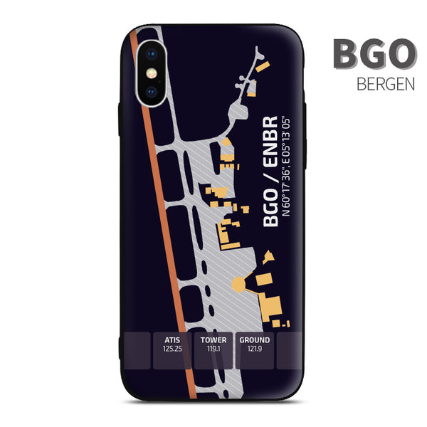 BGO Bergen Airport Diagram Phone Case aviation gift pilot iPhone Andriod Apple Samsung Huawei Xiaomi