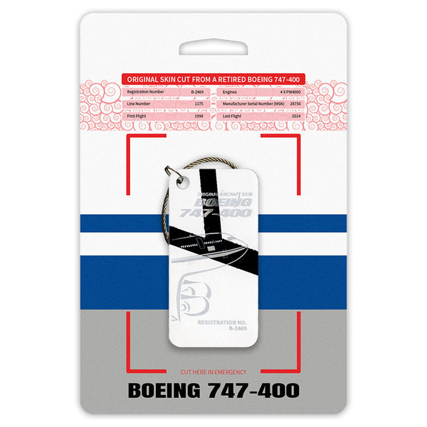 Boeing 747 B-2469 Original Aircraft Tag White-Black