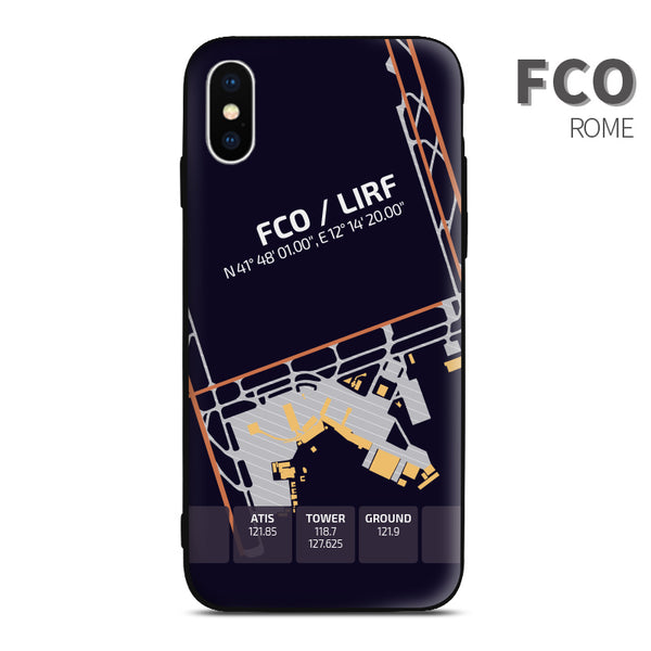Rome FCO airport diagram phon case iphone apple samsung huawei xiaomi aviaiton gift for crew pilots avgeeks
