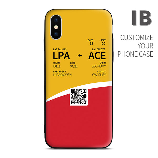 Iberia IB color Boarding Pass Phone Case design perfect for aviation geeks crew pilot apple iphone huawei samsung xiaomi