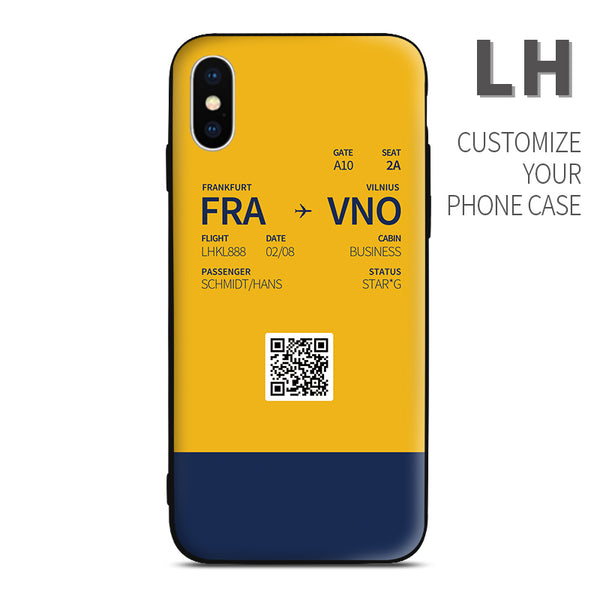 Lufthansa color Boarding Pass Phone Case design perfect for aviation geeks crew pilot apple iphone huawei samsung xiaomi