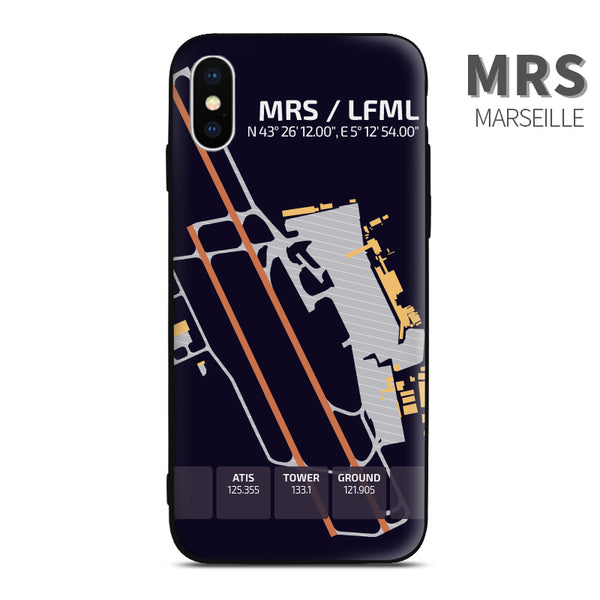Marseille France Airport Diagram Phone Case aviation gift pilot iPhone Andriod Apple Samsung Xiaomi Huawei