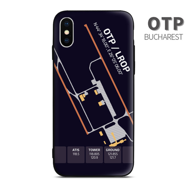 Bucharest Romania OTP LROP Airport Diagram Phone Case aviation gift pilot iPhone Andriod Apple Samsung XIaomi Huawei