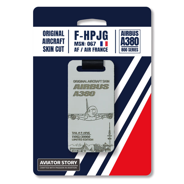 Air France Airbus A380 original aircraft skin plane tag. F-HPJG. Aviation tag. Pilot crew avgeek gift.