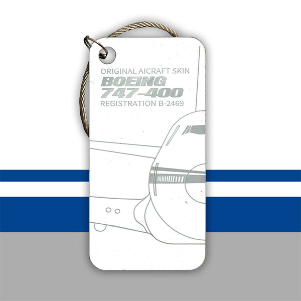 Boeing 747 B-2469 Original Aircraft Tag (2 Pieces Pair) White