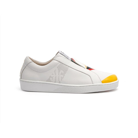Men's Bishop Bolt White/Yellow/Red 01791-019<br />メンズ 白 イエロー 赤 レザースニーカー