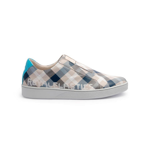 Men's Bishop Checked White/Gray/Blue 01791-085<br />メンズ 白 グレー 青 レザースニーカー