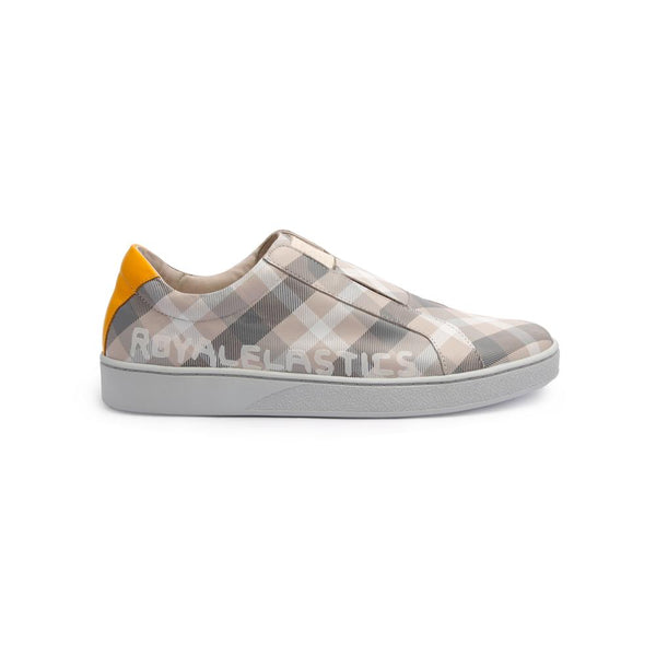 Men's Bishop Checked White/Gray/Yellow 01791-088<br />メンズ 白 グレー イエロー レザースニーカー