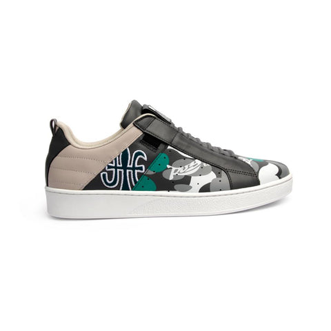 Men's ICON MANHOOD Camouflage Black/Green 02091-840<br />メンズ 黒 緑 レザースニーカー