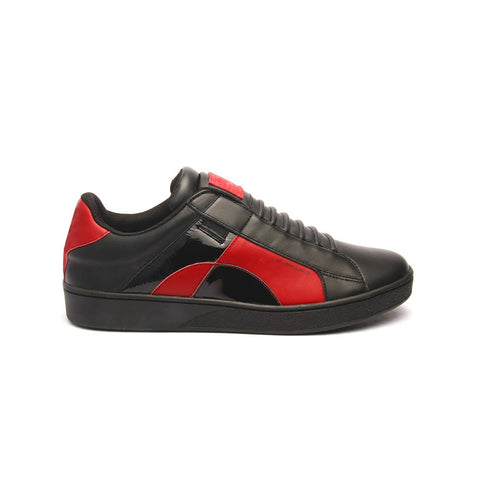 Men's ICON Dots Black/Red 02984-991<br />メンズ 黒 赤 レザースニーカー
