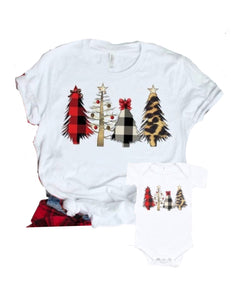 Buffalo Plaid Christmas Tree Bodysuit or Shirt