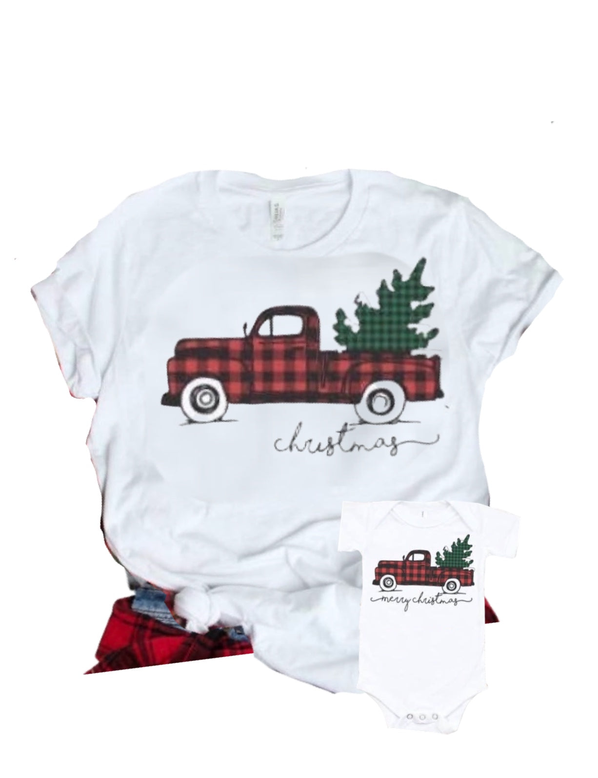 Buffalo Plaid Christmas Truck Bodysuit or Shirt