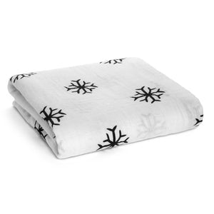 And to all a Good Night Organic Cotton Muslin Swaddle Blanket