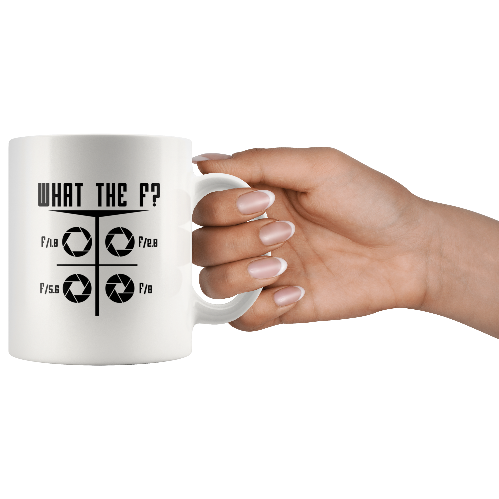 What The F Funny Photographer Camera F-Stop Lens Coffee Mug 11oz White