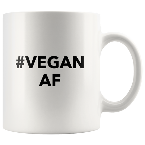 Vegetarian Mug-Funny Novelty Gift Ideas for Vegan-Hasgtag Vegan AF 11oz White Coffee Mug