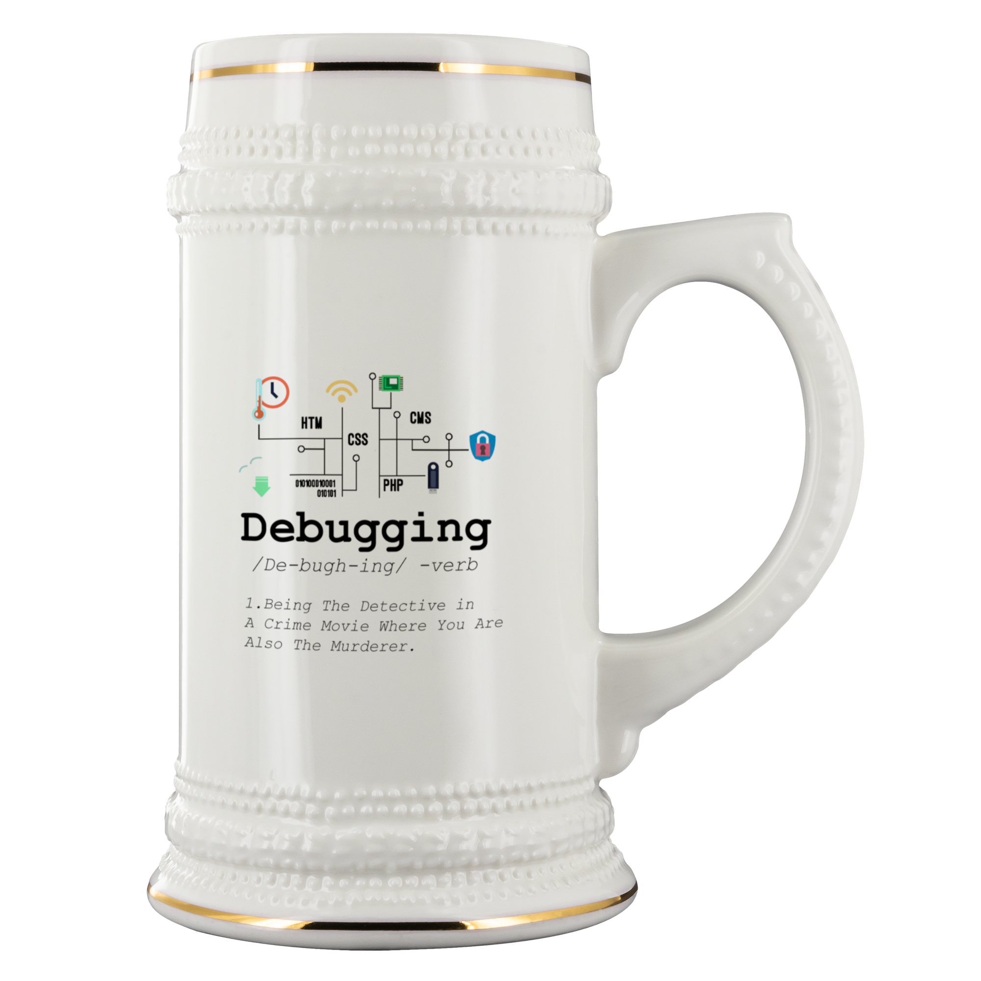 Debugging Definition Beer Stein Funny IT Programming Coding Gift 22 oz