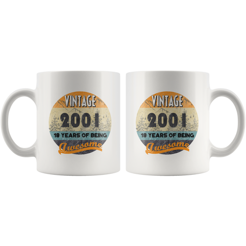 Vintage 2001 19 Years Of Being Awesome 19th Birthday Coffee Mug 11 oz