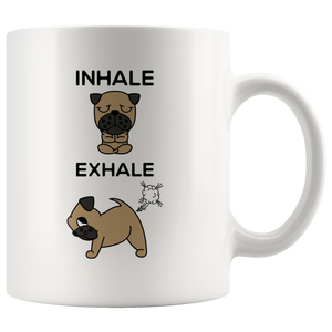 Inhale Exhale Farting Bulldog Funny Coffee Mug