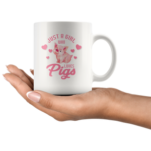 Pig Farmer Gift Just a Girl Who Love Pigs Funny Appreciation White Coffee Mug 11 oz