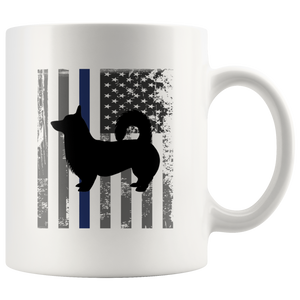 Corgi Police Thin Blue Line Flag Gift Idea Ceramic Coffee Mug 11 oz