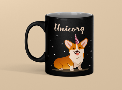 Unicorg Unicorn Corgi Lovers Premium Black Mug