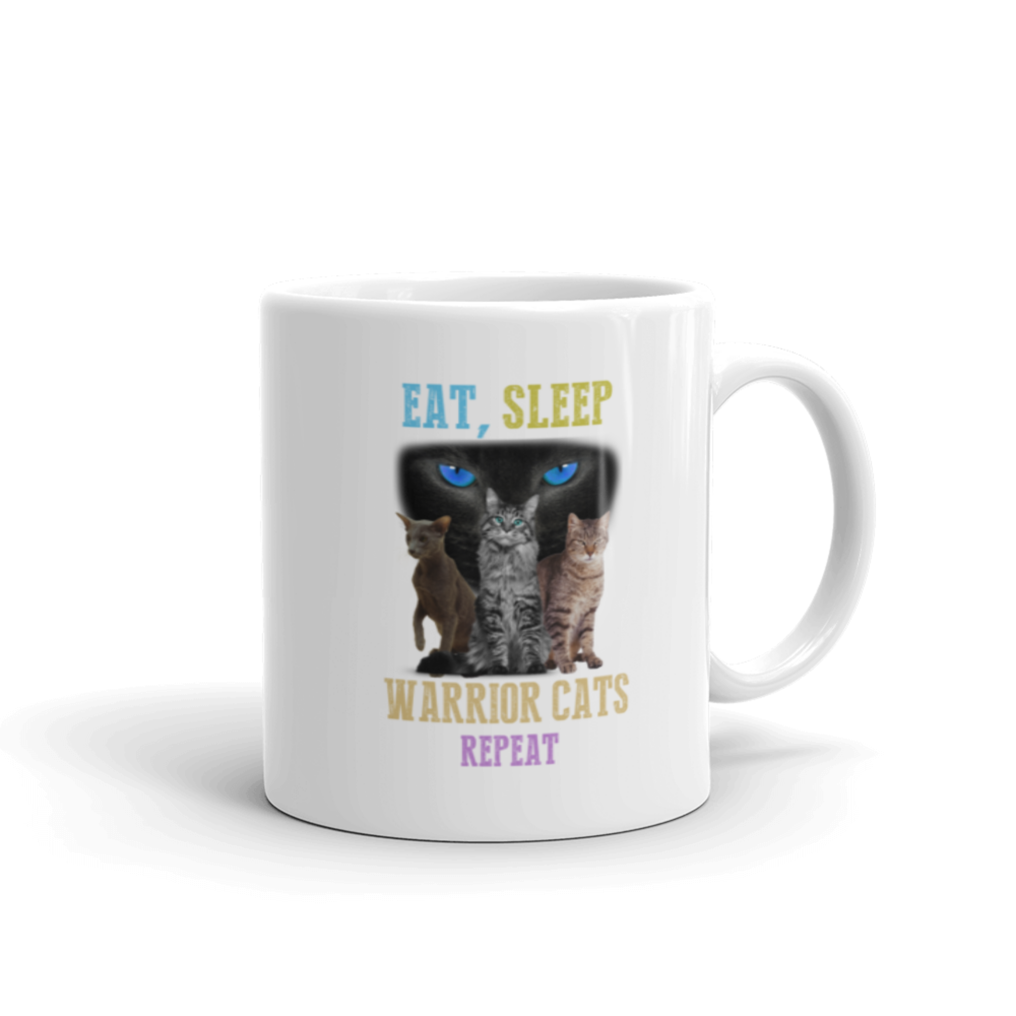 Eat Sleep Warrior Cats Repeat Cat Dog Pet Lover Gift Coffee Mug 11 oz