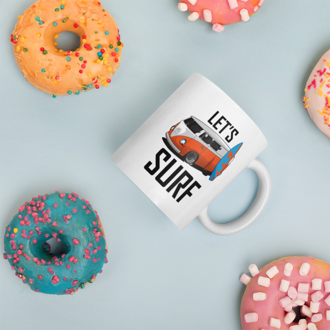 Surfing Gift - Let's Surf Inspiring Surfing Appreciation Surfboard Presents Coffee Mug 11 oz