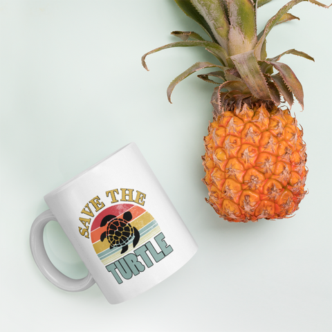 Turtle Lover Gift Save The Turtle Save The Sea Environmentalist Nature White Mug 11 oz