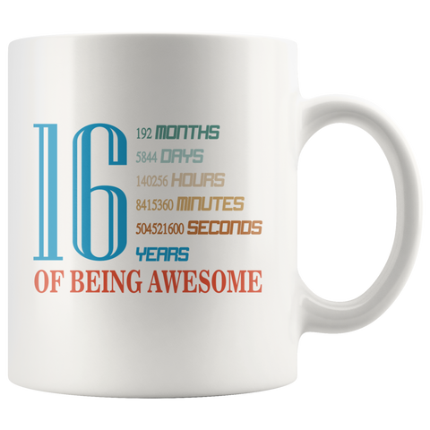 16 Years Old 16th Birthday Mugs for Gift Ceramic Coffee Cup White 11oz