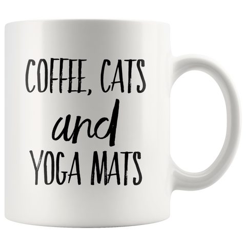 Coffee Cats and Yoga Mats Funny Gift Idea Ceramic Coffee Mug 11 oz