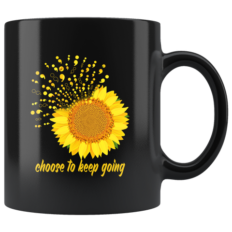 Inspiring Nature Gifts Choose To Keep Going Sunflower Black Coffee Mug 11 oz