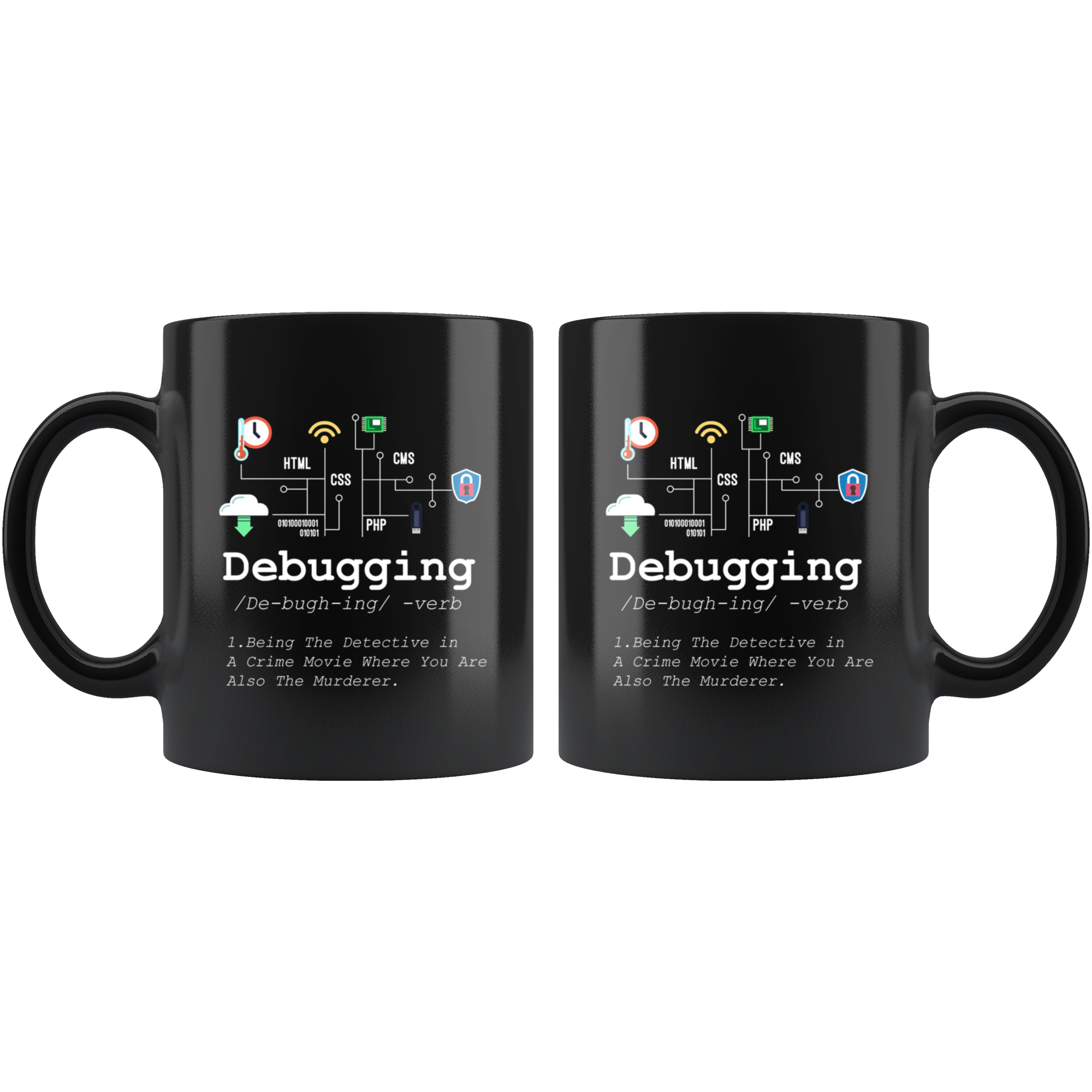 Debugging Definition Mug Funny IT Programming Coding Programmer 11oz Black