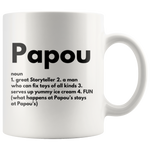 Gift For Dad - Papou Noun Definition Best Storyteller Serves Ice Cream Coffee Mug 11 oz