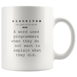 Algorithm Meaning Definition Mug Funny Programmer Coffee Cup 11 oz