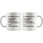 Mother-In-Law Gift - Dear Mother In Law Thank You Appreciation Presents Mug 11 oz