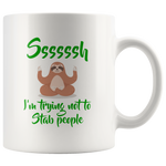 Introvert Gift Ssssssh I'm Trying Not To Stab People Anti-Social White Coffee Mug 11 oz
