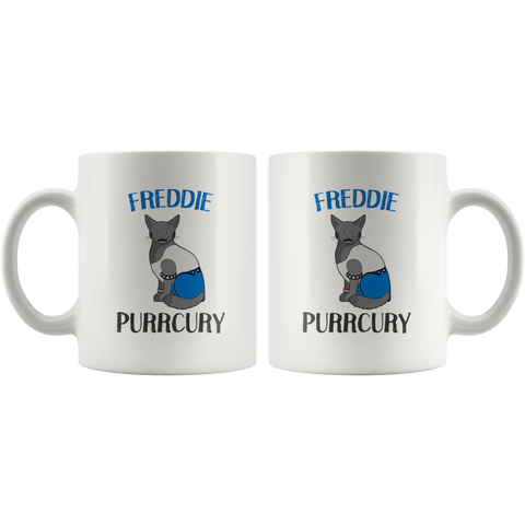 Freddie Purrcury Cat Lover Parody Gift White Ceramic Coffee Mug 11 oz