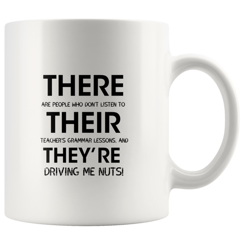 Funny English Teacher Grammar Mug There, Their, They're