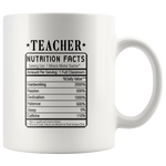 Teacher Nutrition Facts Label Funny Ceramic Coffee Mug 11 oz